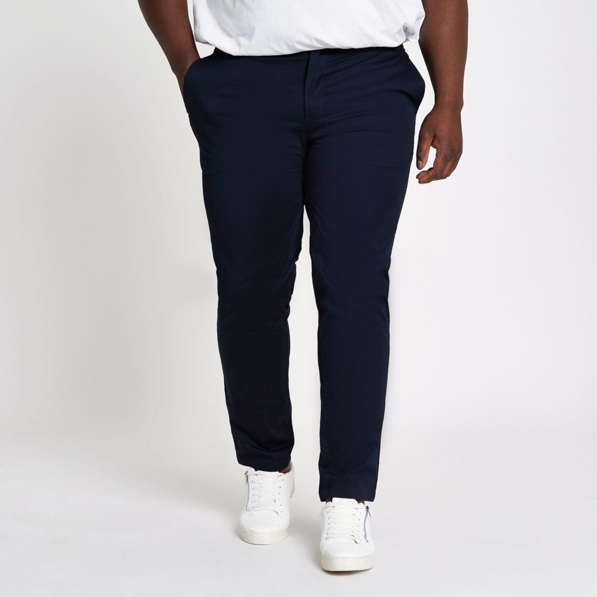 Big and Tall – Marineblaue Slim Fit Chinohose