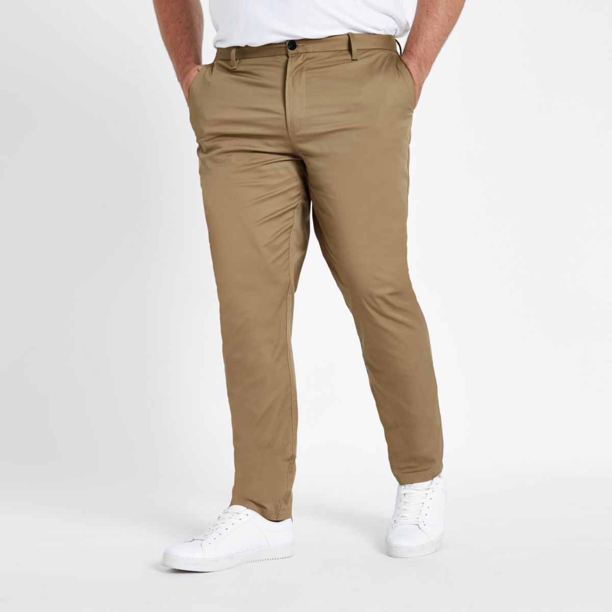Big and Tall tan chino slim fit pants