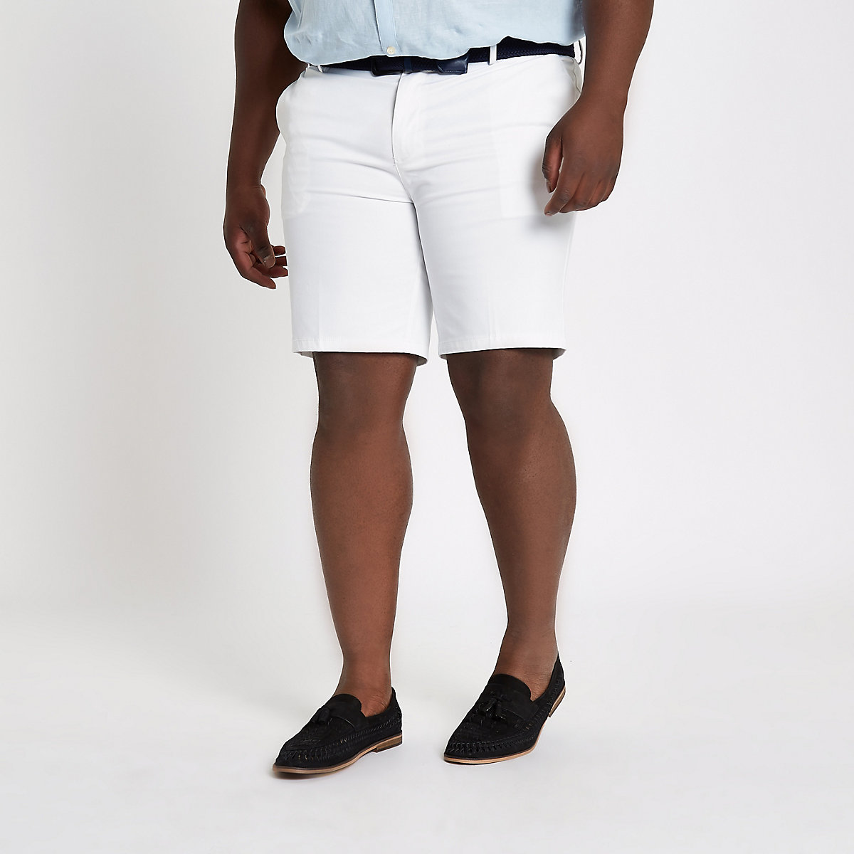 Big and Tall white belted chino shorts