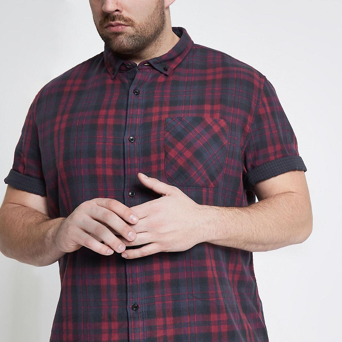 Big and Tall red check short sleeve shirt