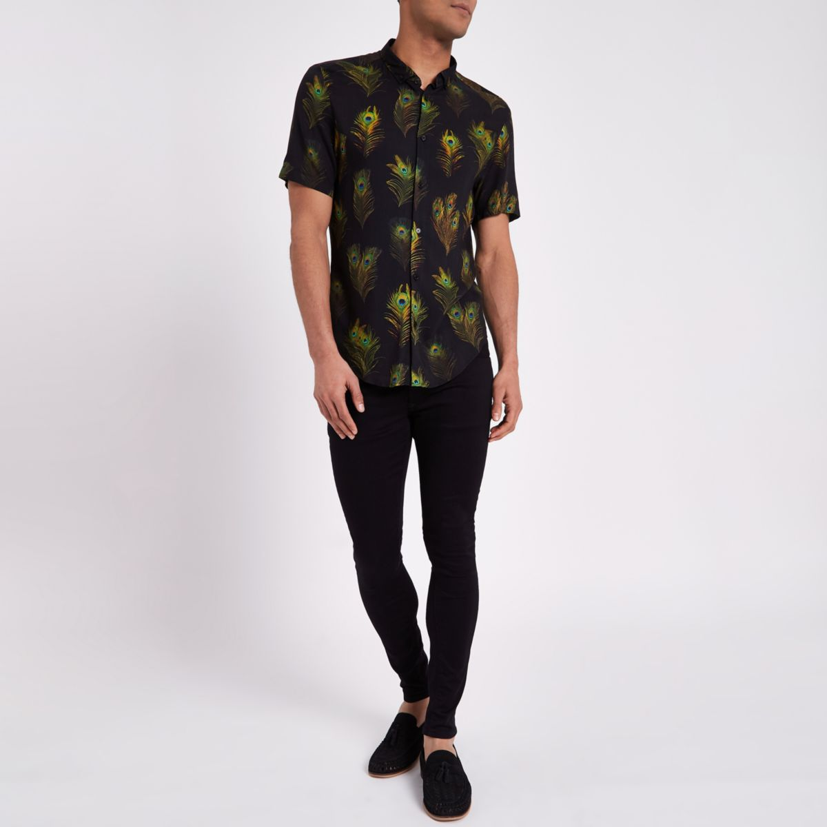short sleeve slim fit Black peacock shirt AEwqCa5
