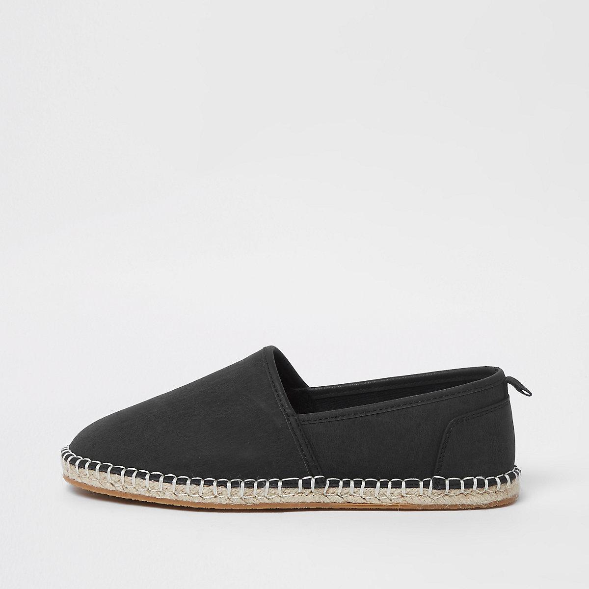 Black slip on espadrilles