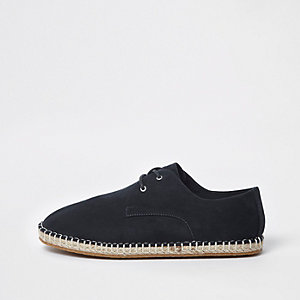 Navy lace up espadrilles