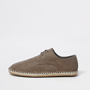 Grey lace up espadrilles