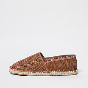 Mens Beige embossed slip on espadrilles River Island fLCzx6OtH