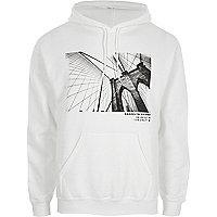 White Brooklyn Bridge print hoodie