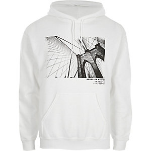 White Brooklyn Bridge print hoodie