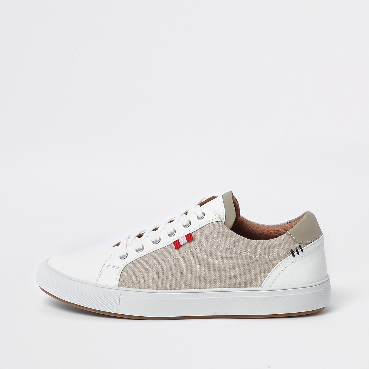 Cream canvas side lace-up sneakers