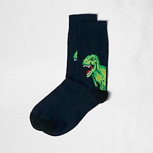 Navy dinosaur socks