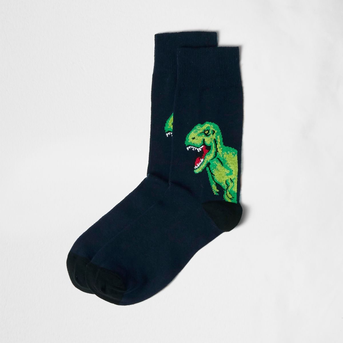 Navy dinosaur socks