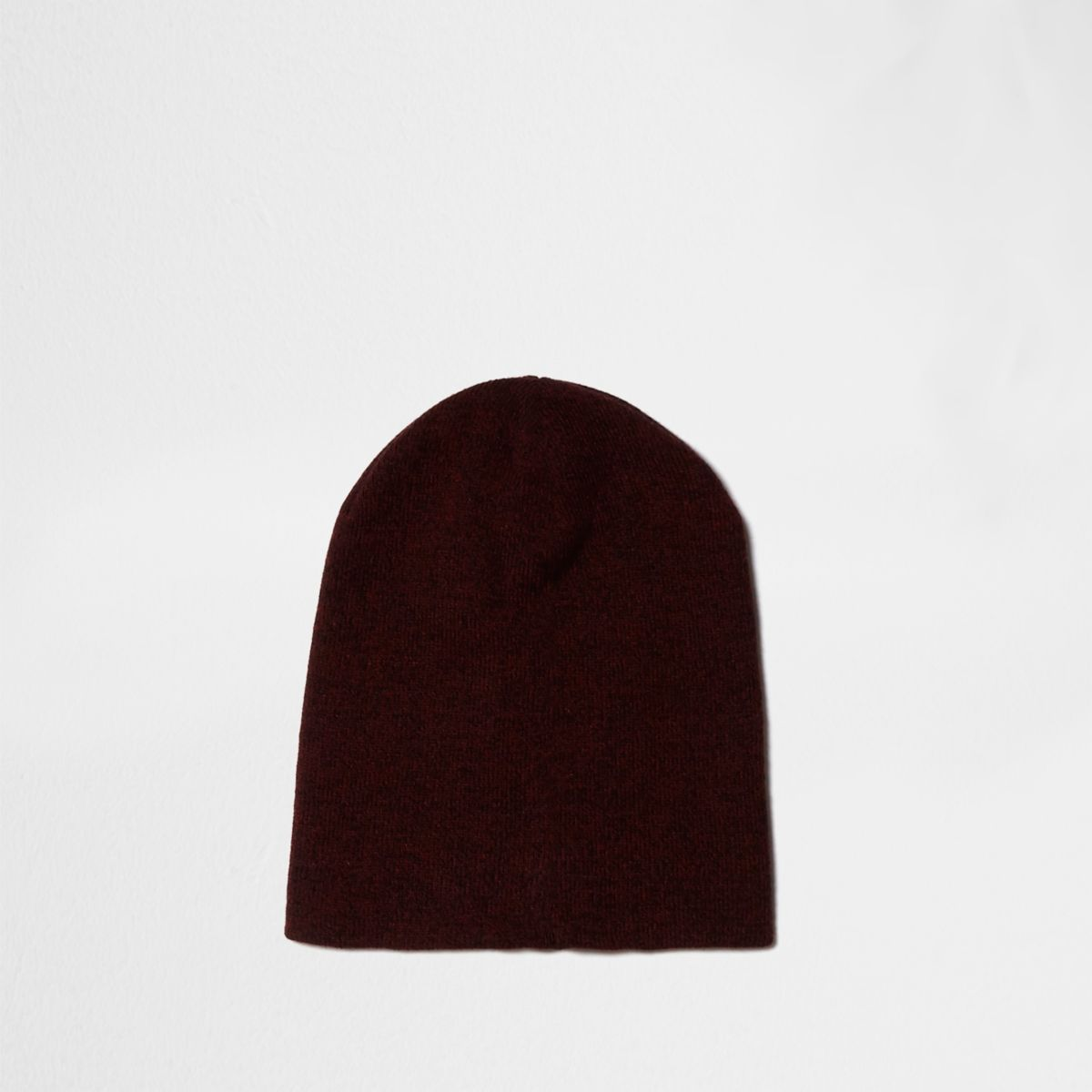 Red slouch knitted beanie hat