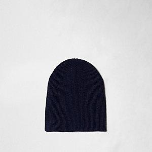 Blue rib knit slouch beanie hat