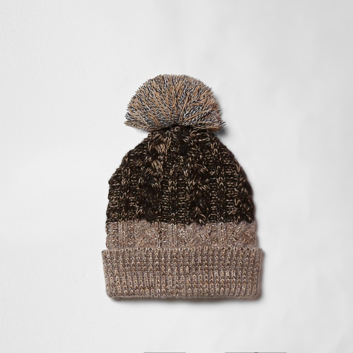 Brown cable knit bobble beanie hat