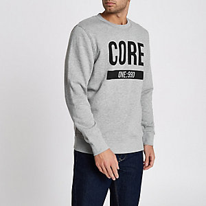 Grey marl Jack & Jones Core print sweatshirt