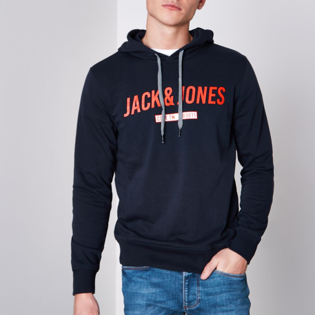Jack & Jones Core - Zwarte hoodie met print