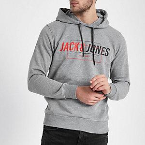 Grey marl Jack & Jones Core print hoodie