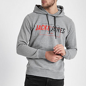 Jack & Jones - Grijze gemêleerde hoodie met print