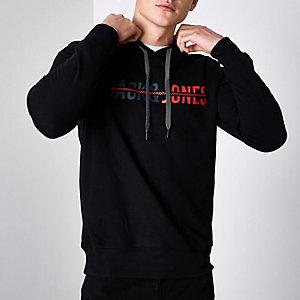 Navy Jack & Jones Core print hoodie