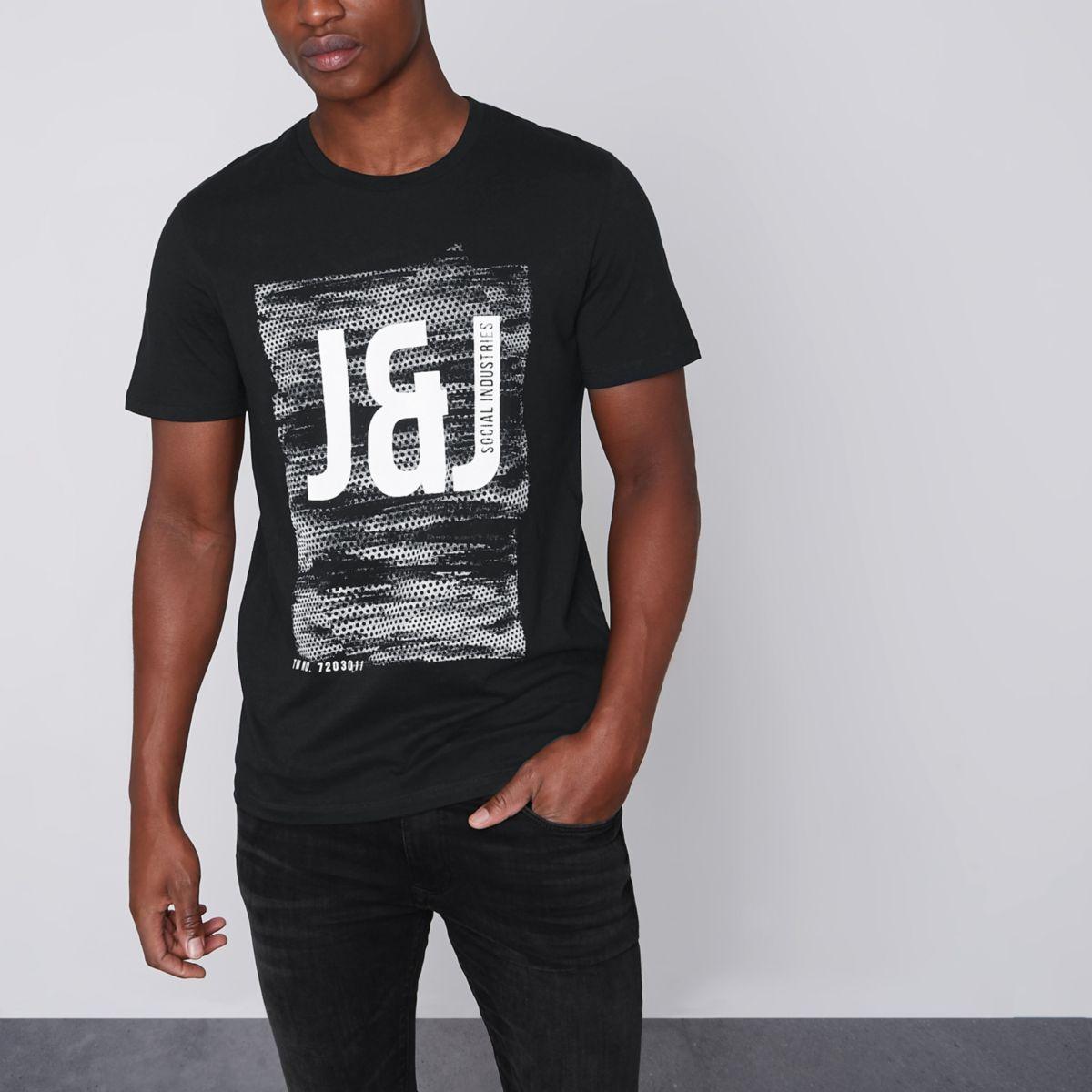 Jack & Jones ‒ Schwarzes, bedrucktes T-Shirt