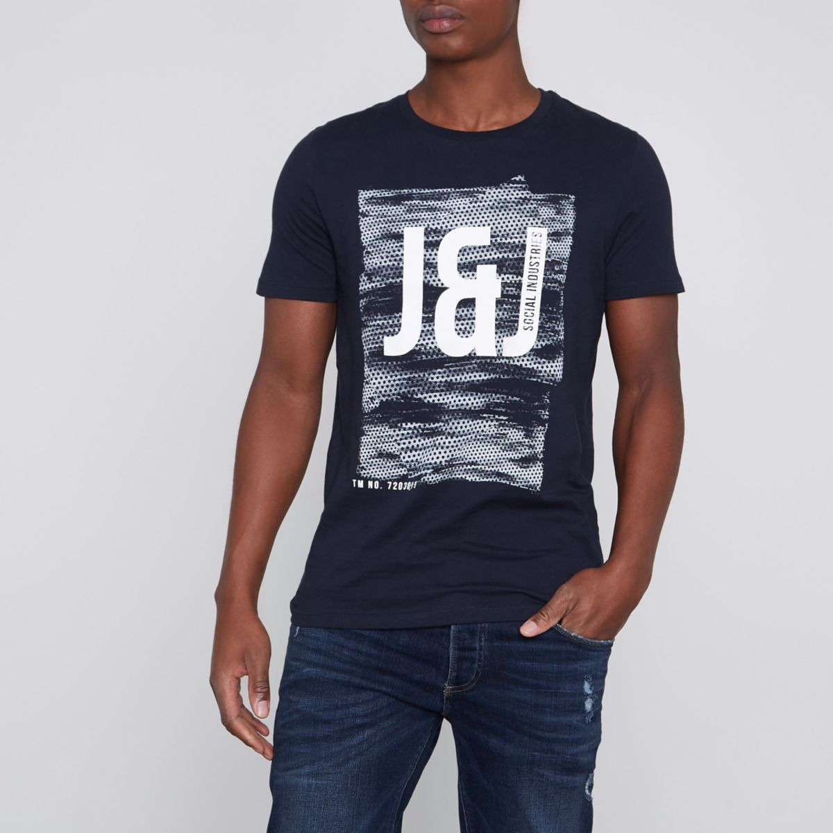 Navy Jack & Jones Core print T-shirt