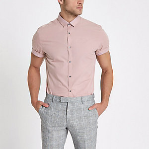 Pink short sleeve slim fit shirt
