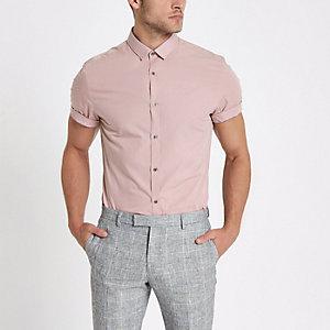 Roze slim-fit overhemd met korte mouwen