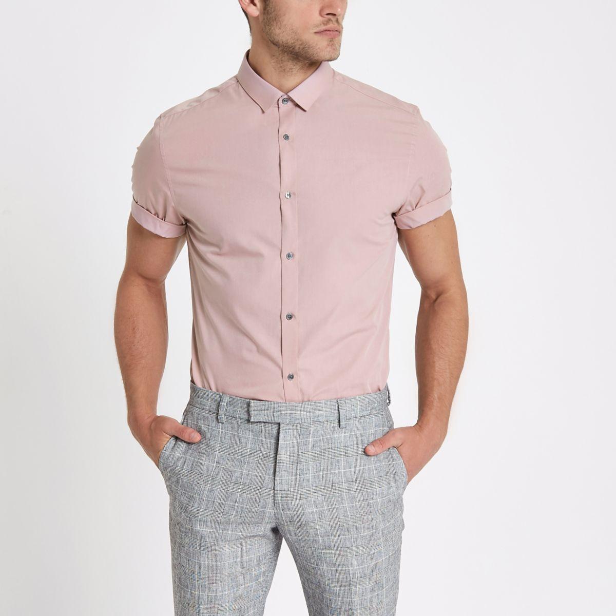 Pink short sleeve slim fit shirt