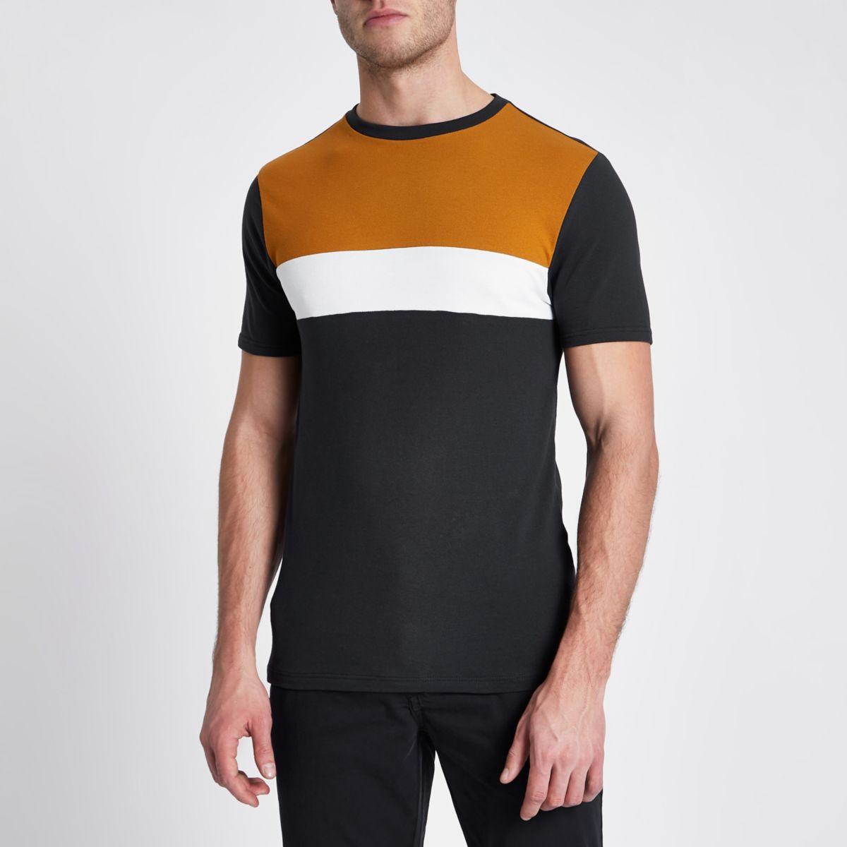 Navy block colour muscle fit pique T-shirt