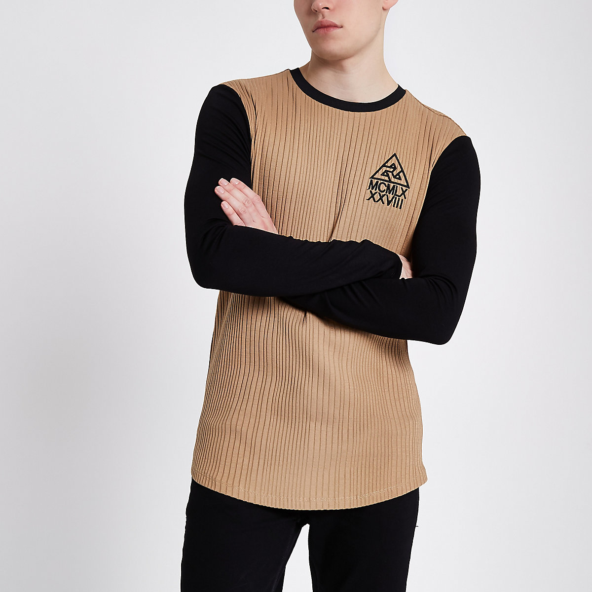 Light brown muscle fit long sleeve top