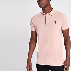Pink rose embroidered slim fit polo shirt