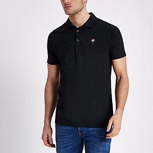 Marineblaues Slim Fit Polohemd mit Rosenstickerei