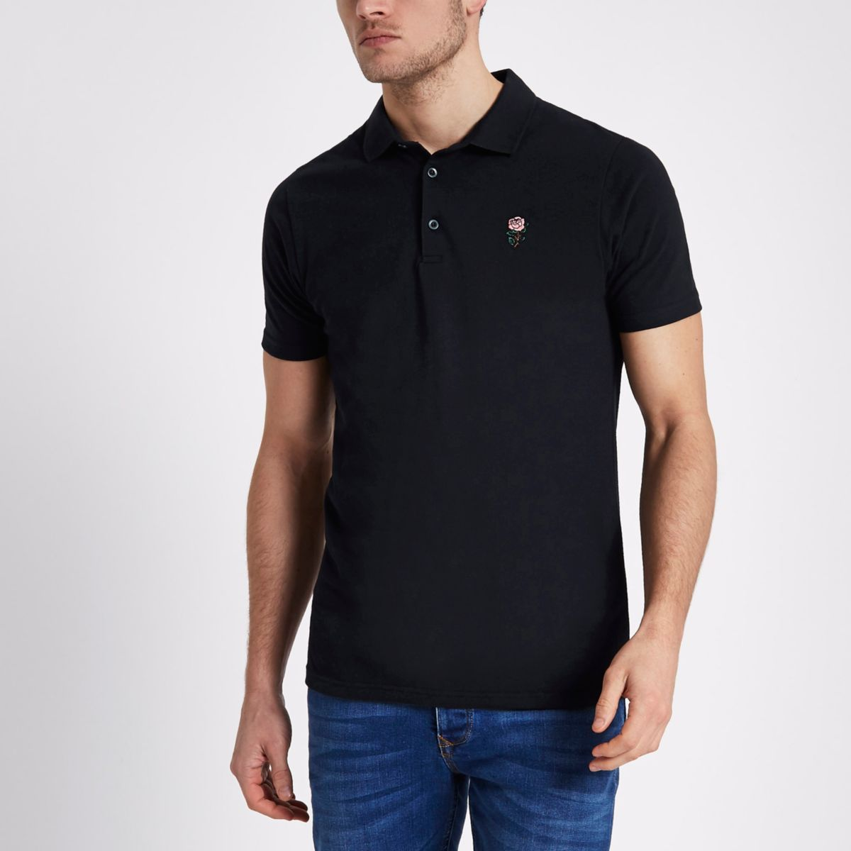 Navy rose embroidered slim fit polo shirt polo shirts men for Mens slim polo shirts