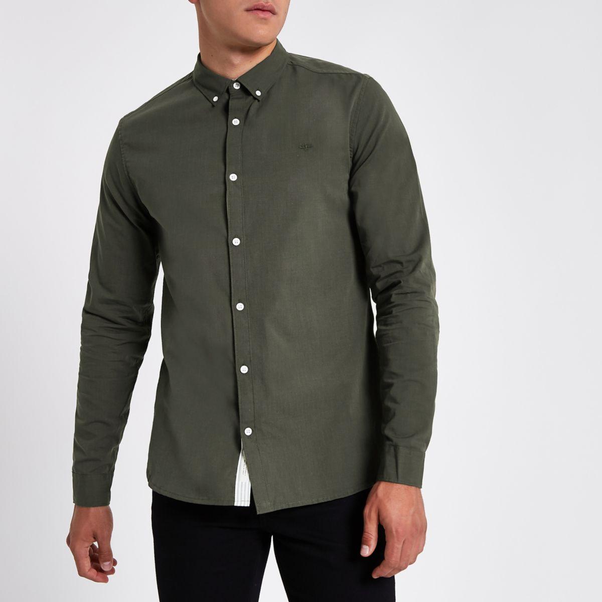 Khaki green slim fit button-down shirt