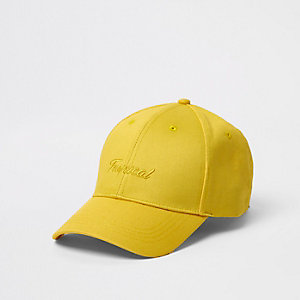 Casquette de baseball jaune à inscription 'tropical'