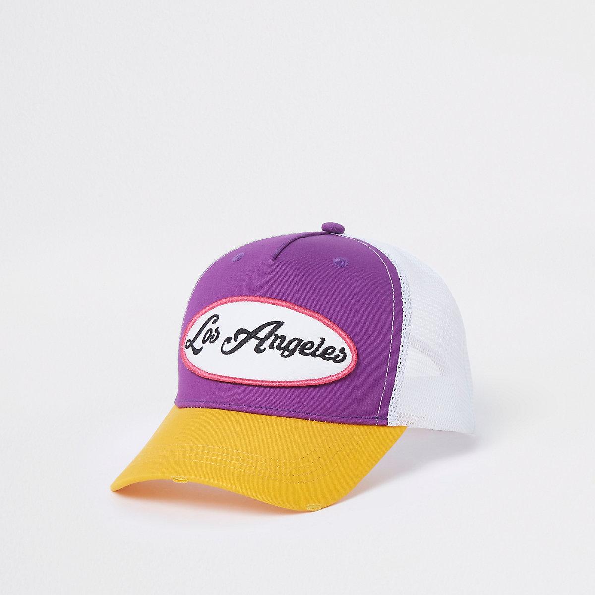 Purple color block mesh trucker cap