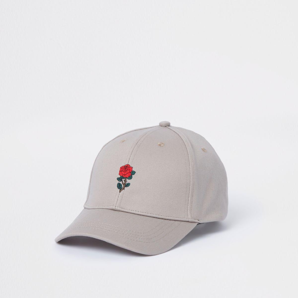 Casquette de baseball beige motif rose
