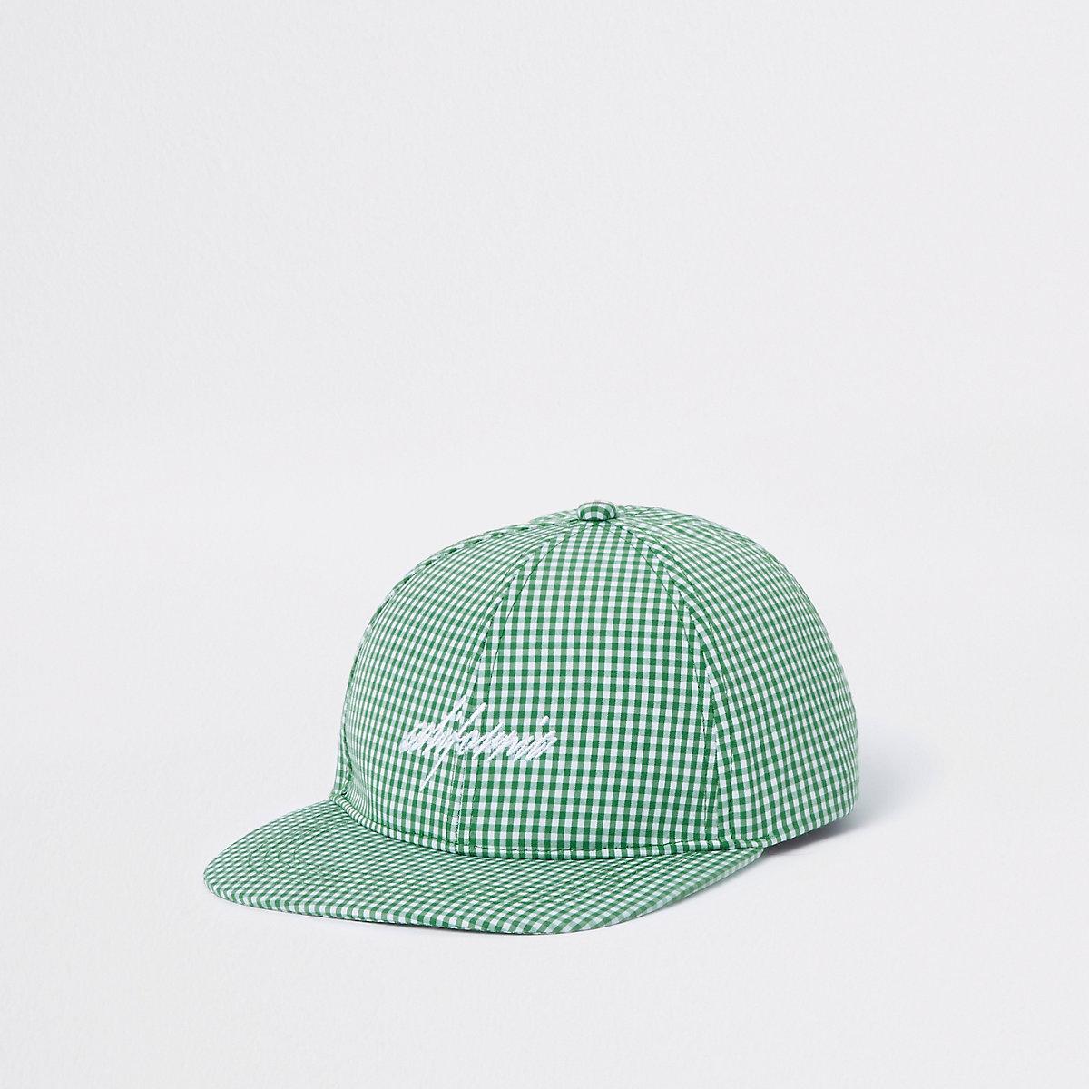 Green gingham flat peak cap