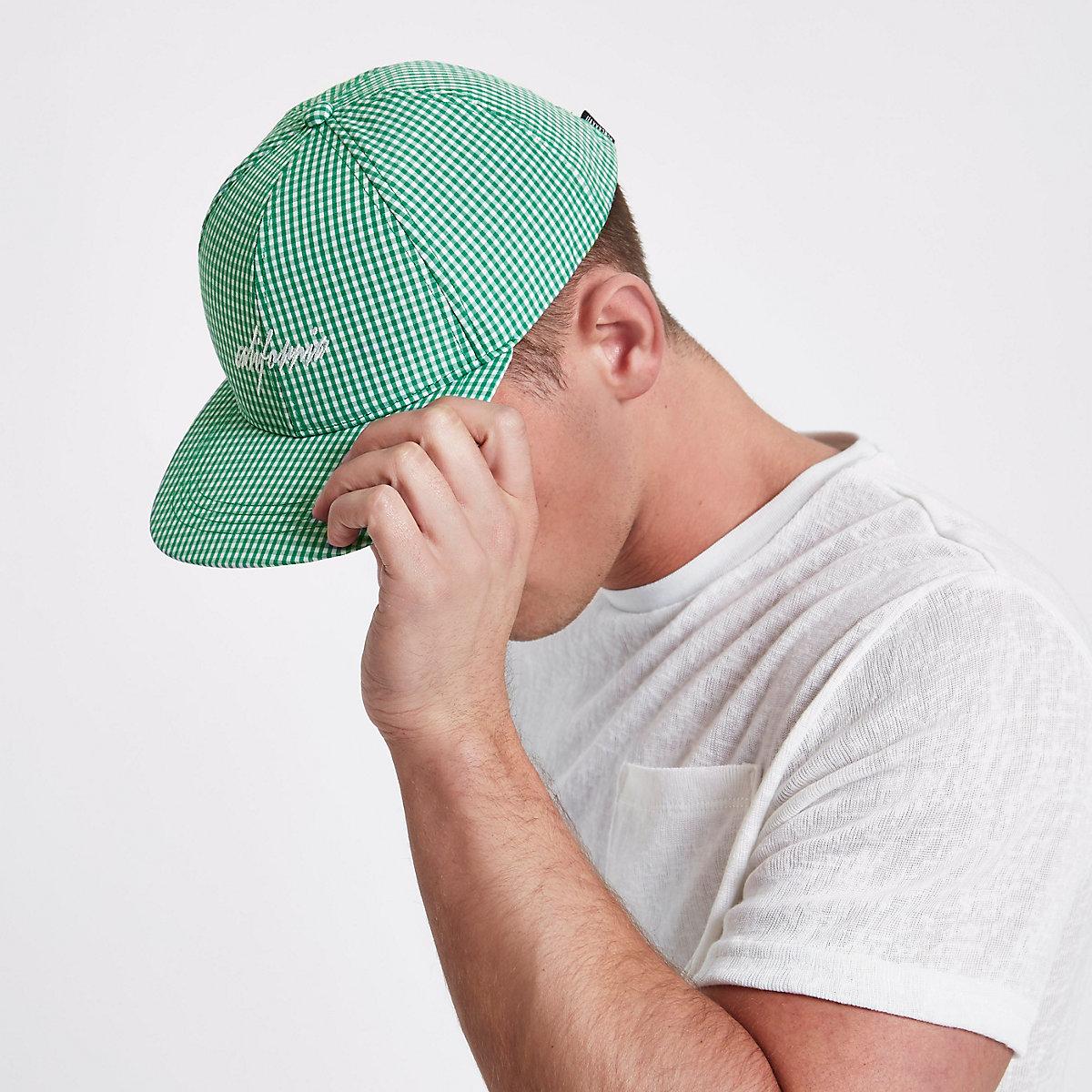 a134fffc087 Green gingham flat peak cap - Hats   Caps - Accessories - men