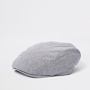 Casquette grise matelassée motif pied-de-poule avec visière plate