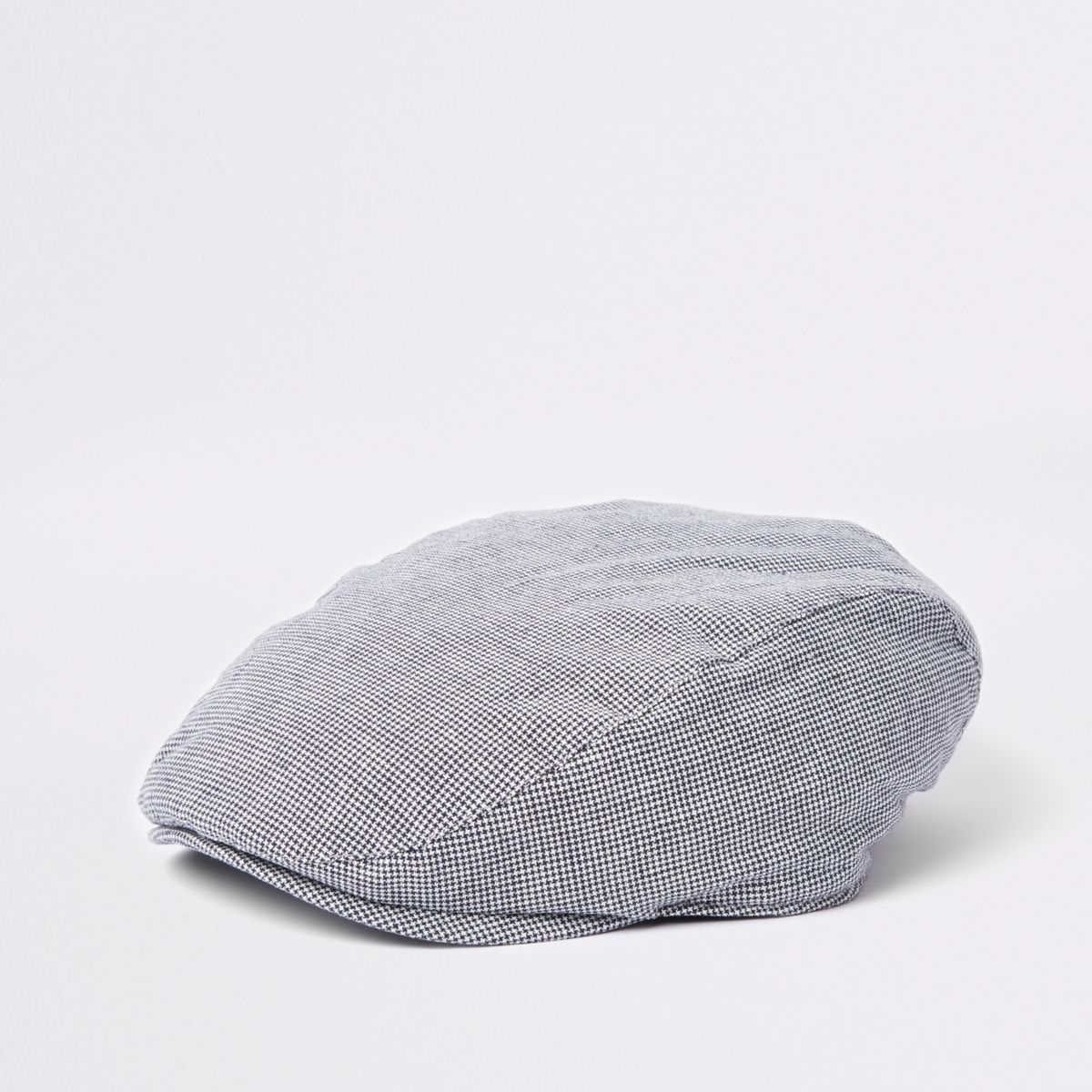 Grey puppytooth quilted flat cap
