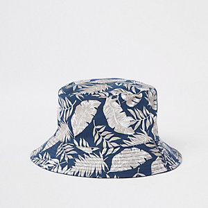 Navy tropical print bucket hat
