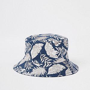 Marineblauw hoedje met tropische print