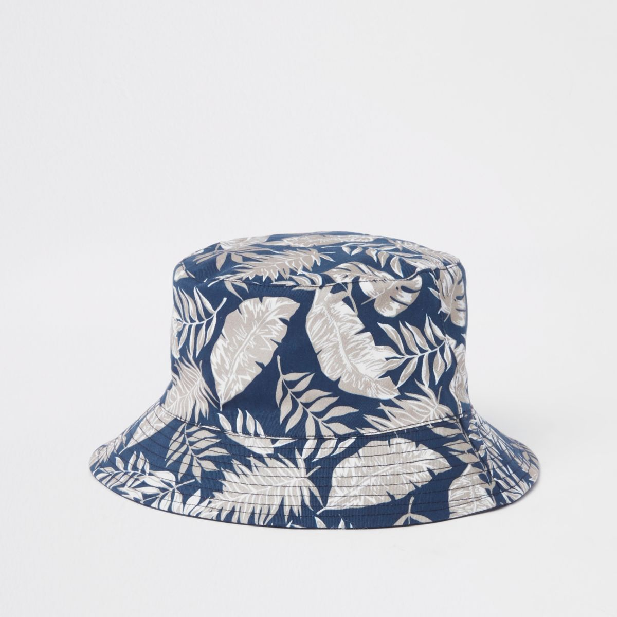 Navy tropical print bucket hat