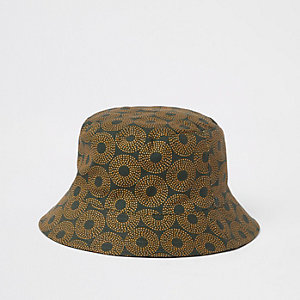 Khaki green aztec print bucket hat