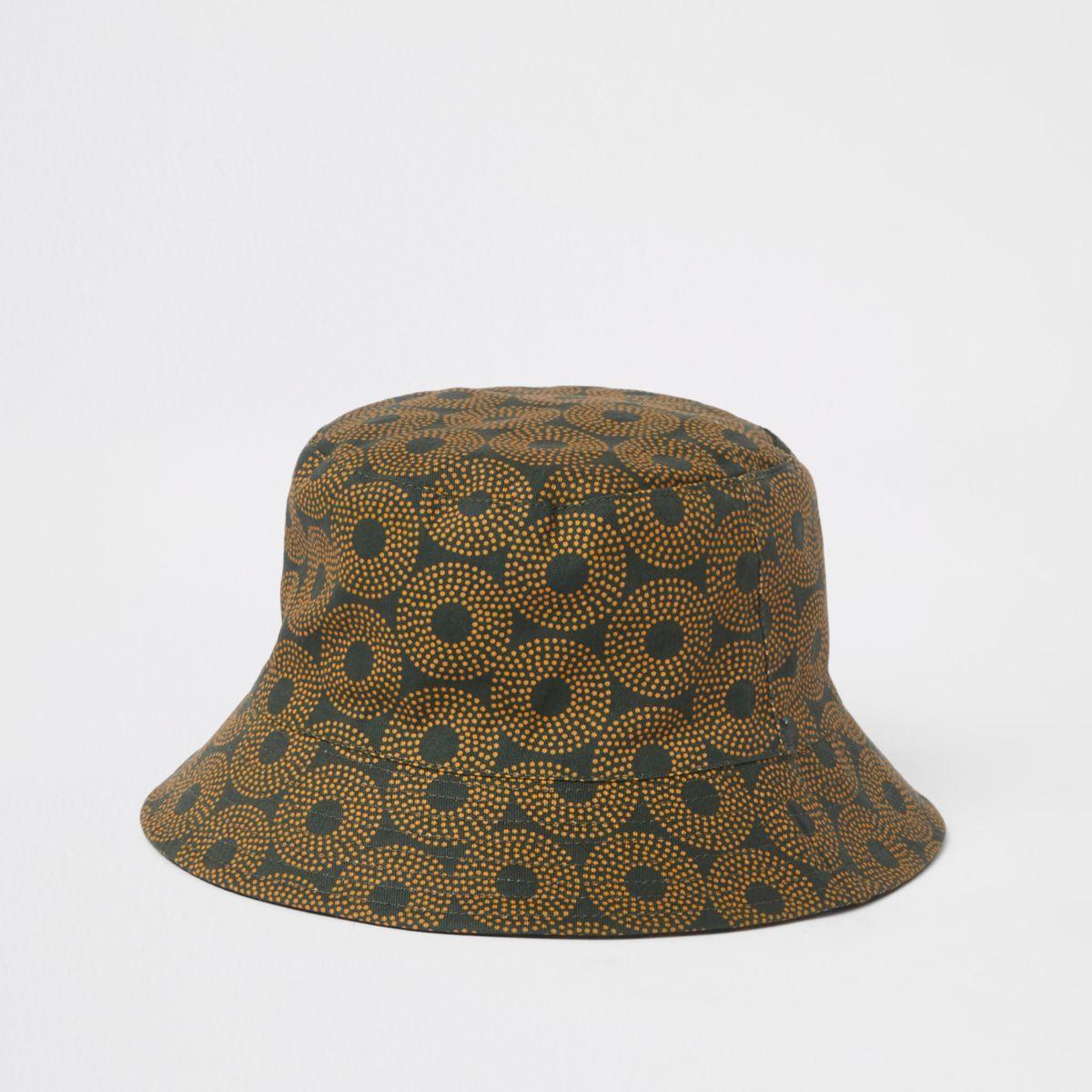Khaki green aztec print bucket hat