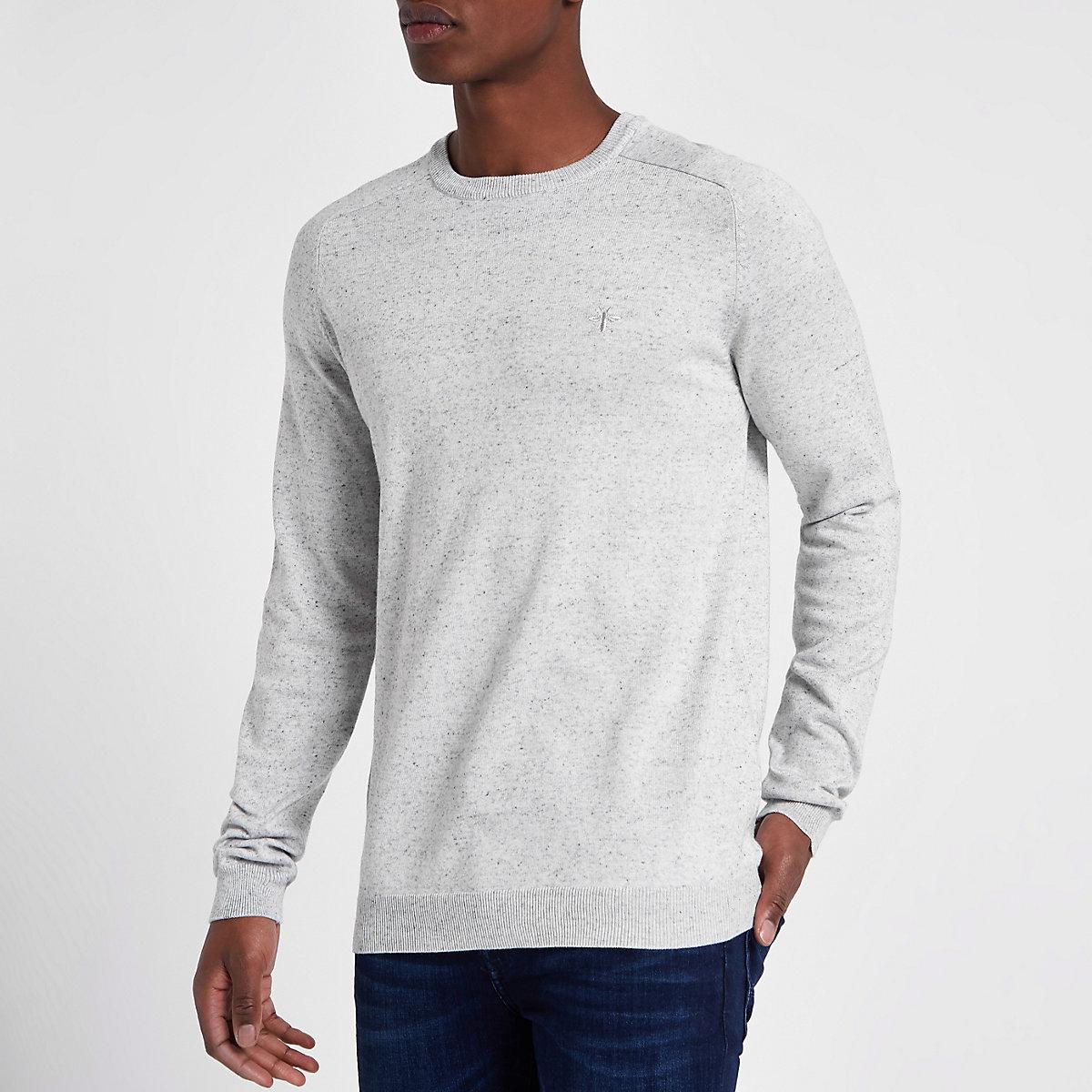 Grey slim fit crew neck sweater