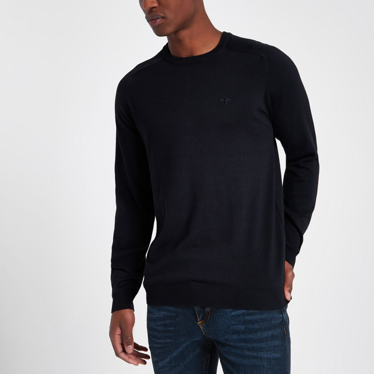 Navy slim fit crew neck jumper