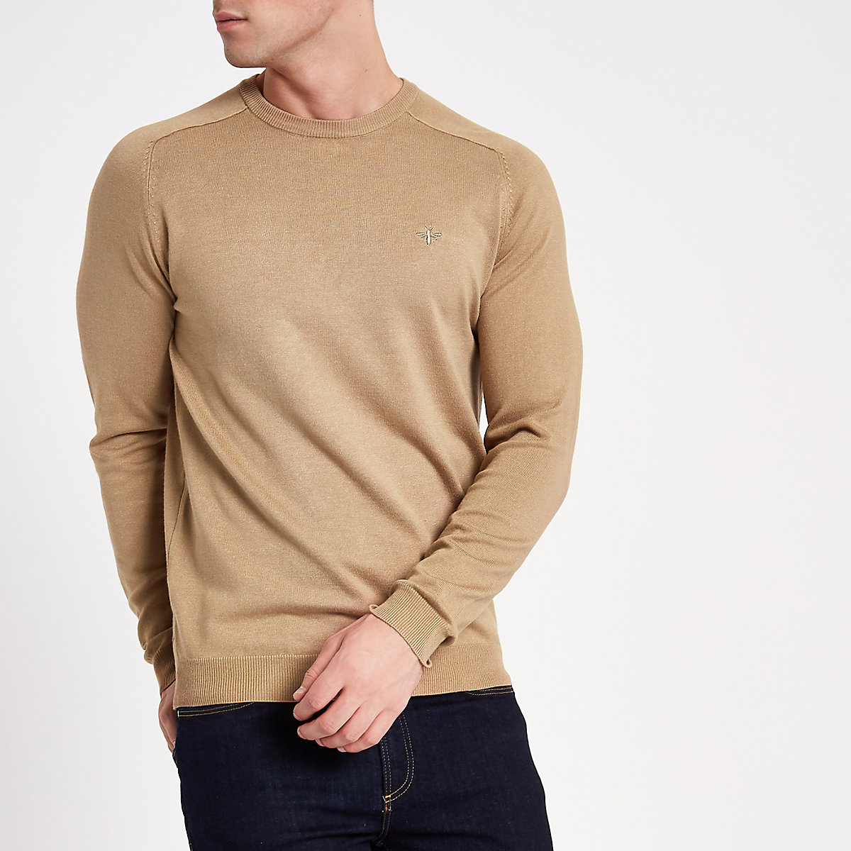 Light brown slim fit crew neck jumper