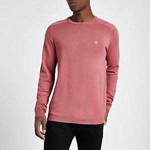 Roze slim-fit pullover met ronde hals