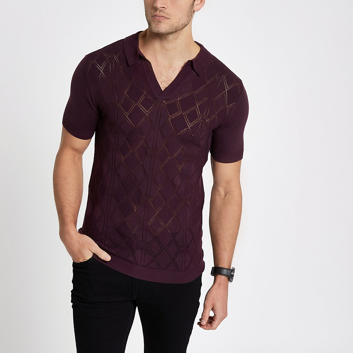 Burgundy pointelle slim fit polo shirt